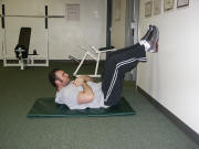 abdominal crunch with feet on wall