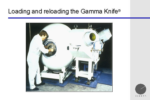 loading the radioactive cobalt pellets in the gamma knife