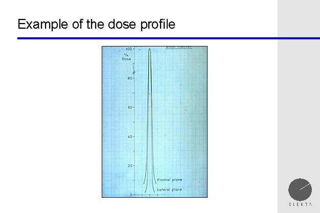 dose profile of gamma knife, showing steep dose dropoff